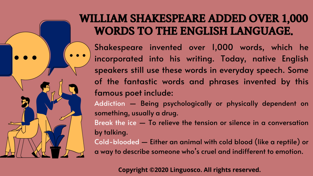 William Shakespeare added over 1,000 words to the English language