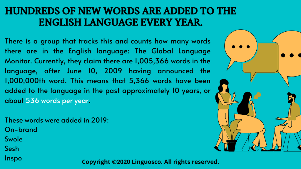 3. Hundreds of new words are added to the English language EVERY YEAR.