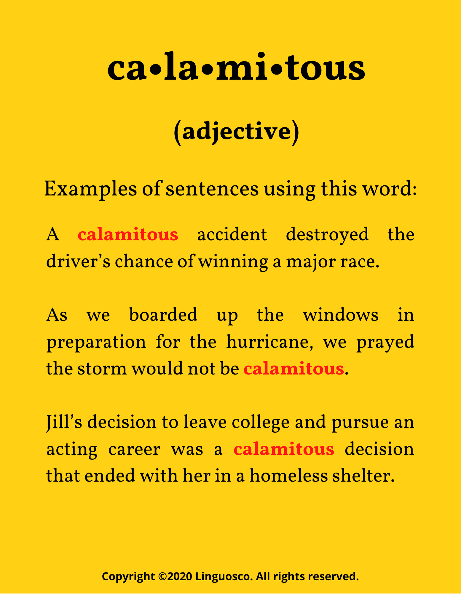 Calamitous - Word of the Week