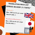 Express Delivery JP TO ENG ENG TO JP