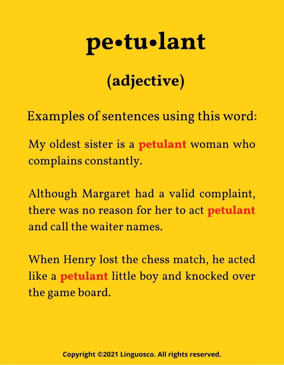 Petulant : Word of the Week
