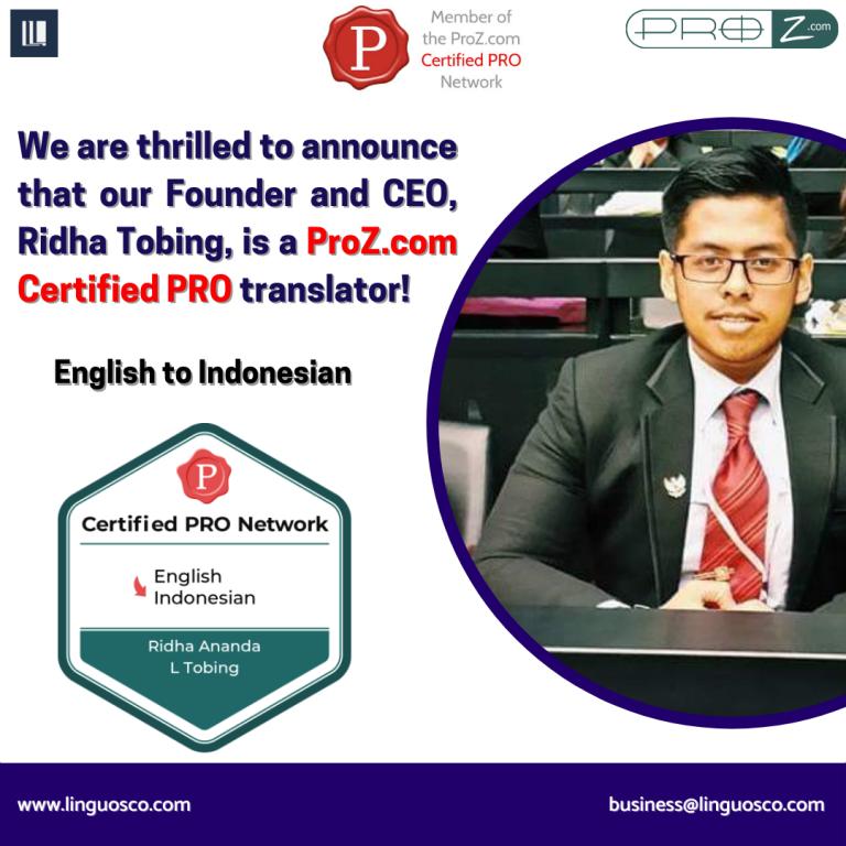 Ridha Ananda L Tobing - ProZ Certified PRO Translator